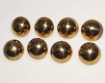 "8 Vintage Gold Tone Metal 1/2 Sphere 3/4"" Round Button"