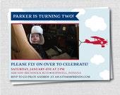 Vintage Airplane Birthday Photo Invitation - Boy Airplane Birthday Party - Digital Design or Handcrafted Invitations - FREE SHIPPING