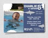 Photo Shark Birthday Invitation - Shark Party - Boy Birthday - Digital Design or Printed Invitations - FREE SHIPPING