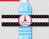 Paris Birthday Party Water Bottle Labels - Paris Birthday Party - Weatherproof Water Bottle Labels - Digital or Handcrafted - FREE SHIPPING