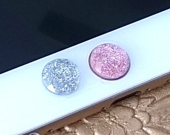 iPhone Home Button, iPhone Charm Sticker, iPhone iPad accessories -  Shimmering Glittering Pink, Silver, Green or Blue