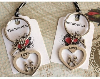 Set of 2 Valentine Lovers and  Love Heart With Initial Keychains His and Hers Couple Keychains Friendship Keychains