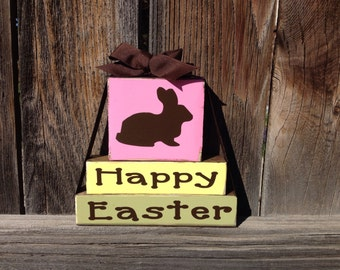 Happy Easter wood stacker blocks