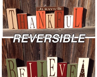 Items Similar To Reversible Believe Amp Give Thanks Wood