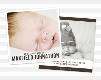 Boy Birth Announcement, Custom Boy Announcement, Double Sided Photo Card, Baby Announcement - Maxfield