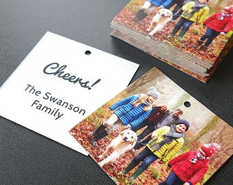 Gift Tags for Christmas Gifts - Add a family photo and message (Square Tags)