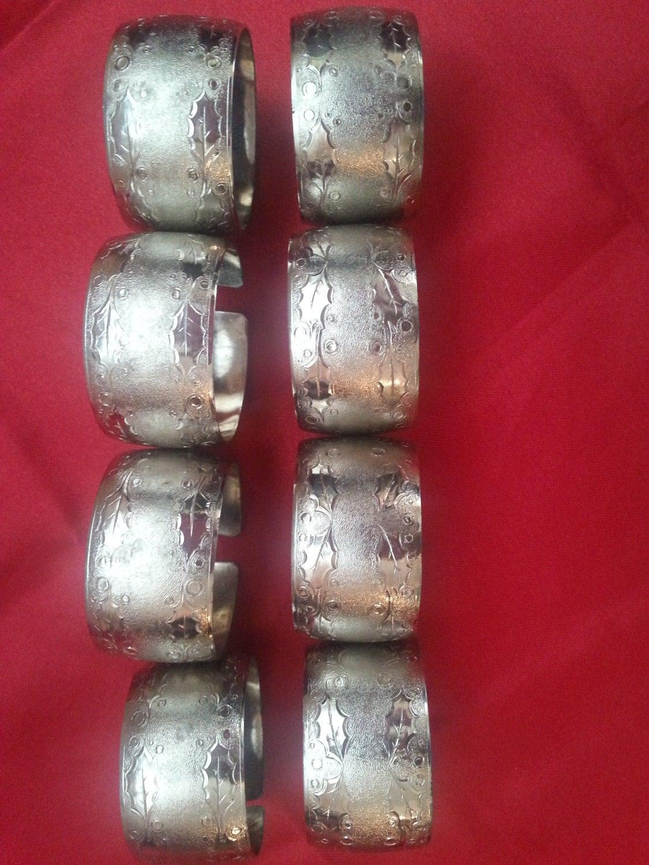 Vintage christmas napkin rings silver metal