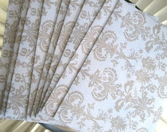 Blue and Taupe Damask A7 envelopes 15 Handmade envelopes blue and taupe 5-1/4 x7-1/4 invitation announcements stationery Damask envelopes