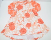 orange peach and white floral jersey knit dress. 9-12 month long sleeve or 18-24 month short sleeve By Little Lapsi
