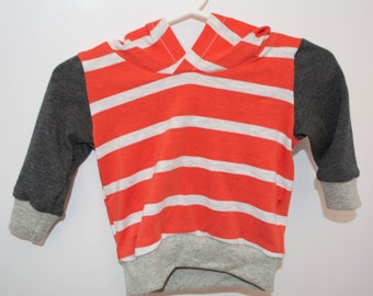 18-24 month Orange bamboo stripe sweatshirt by Little Lapsi