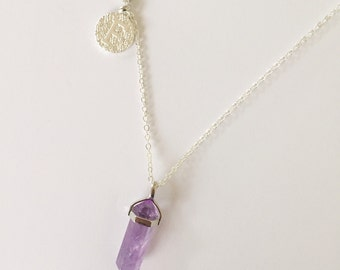 Thea - Amethyst fine silver necklace