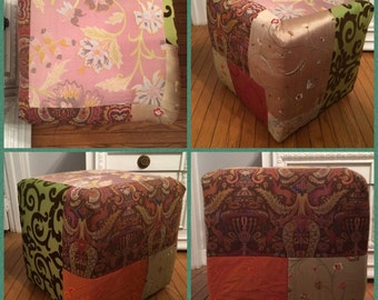SALE, Gypsy Boho Patchwork Ottoman, Poof, Stool, please read