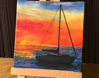 Sunset Sailboat - Mini Canvas print with Easel