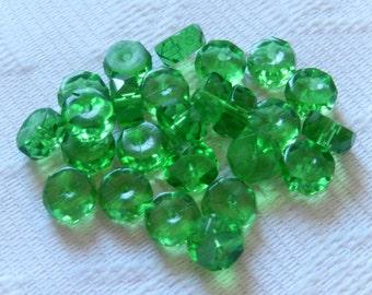 25  Christmas Green Transparent Faceted Disc Czech Glass Beads  8mm