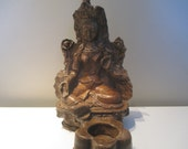 Green Tibetan Tara Candle holder/ Incense burner