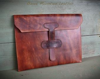 Custom Leather portfolio Satchel Sleeve bag with custom name or initials.
