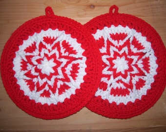 Pair of Hand Crocheted Cherry Red and White Star Pot holders