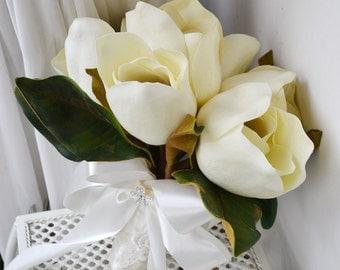 wedding bouquet white magnolia