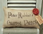 Peter Rabbit's Carrot Patch Decorative Pillow Decor Pillow Simple Pillow Spring Pillow