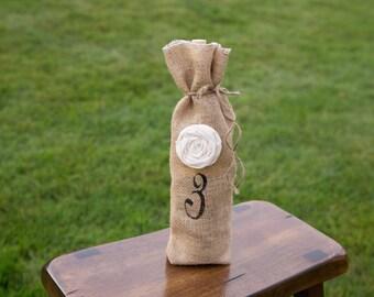 Burlap Wine Gift Bag, Wine Gift Bag, Table Number Wine Gift Bag * Free Shipping*