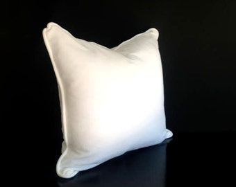 "White Velvet Throw Pillow Cover 18"" by 18"", White Velvet Cushion with White Piping, FREE SHIPPING"