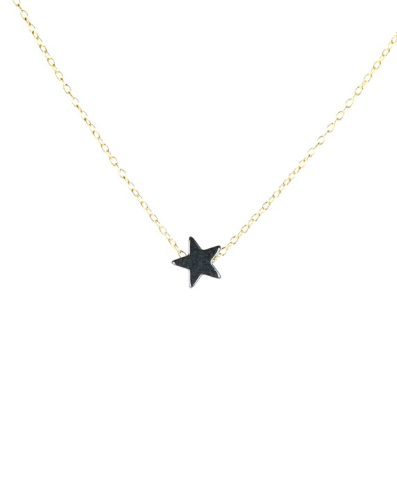 Star necklace - hematite necklace - tiny star necklace - a little hematite star hanging from a 14k gold vermeil or sterling silver chain
