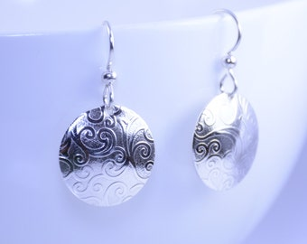 Disc earrings, Sterling silver earrings. Textured earrings