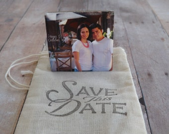 Save the Date Photo Magnet- Personalized Wedding Favor- Photo Tile Magnet-