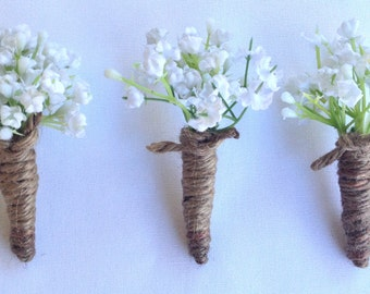 Baby's Breath Boutonniere, Rustic Boutonniere
