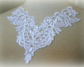White Lace Applique, Lace Applique, Lace Collar, Custome Design, Couture Design, Dressmaking, Lace Jewelry, Crafting, , GL-030