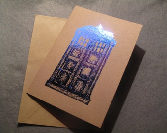 Recycled Brown Card and Dark Blue Hand Made TARDIS Police Box Greetings Card