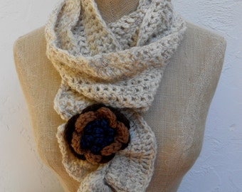 Scarf Hand Crocheted in Oatmeal with Brown Flower.