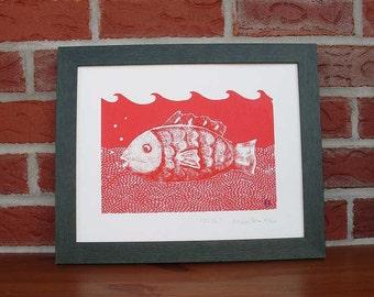 Silkscreen print limited edition, Fish.