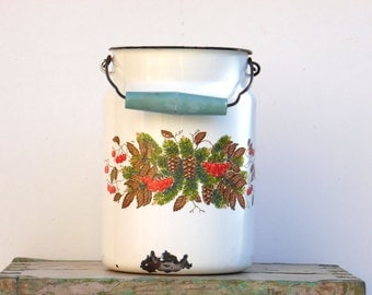 Soviet Vintage Enamel Milk Can - Enamelware - Shabby Chic Kitchen Decor - Farmhouse Decoration