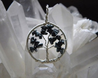 Handwrapped Tree of Life, Fine Silver and Hematite-Reiki Ckarged