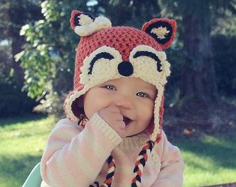 Adorable crochet fox earflap hat