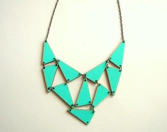 Wooden Mint  Geometric Necklace, Wood Triangles Bib, Geometric Jewelry