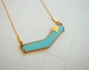 Chevron Necklace,Blue Wood  Necklace,Wood  Necklace,Valentine's necklace