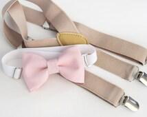 Light pink bow-tie & tan elastic suspender set - blush pink bow tie and light beige suspenders set.