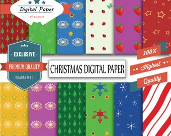 Christmas digital paper for personal and commercial use, Instant Download 12 Sheets, 12in X 12in, 300 DPI, 85% Off