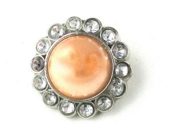 Peach - Set of 5 Acrylic 23mm Pearl & Rhinestone Buttons - AB-023