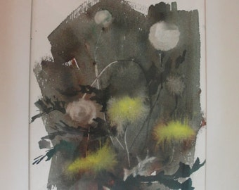 Edna Wagner Piersol Windes Abstract Signed Watercolor Vintage 60''s or 70's Dandelion's
