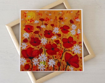 Poppy Meadow Painting, Mixed Media Art Print, Poppy Floral Print, Red Art Print, Remembrance, UK Seller, Red and White Flowers