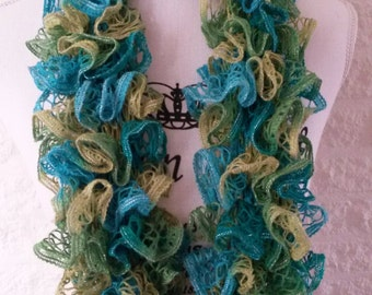 Shades of green and blue ruffle scarf, knit scarf, womens scarf