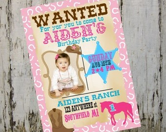 Cowboy western, Cowgirl, cow girl  horse  Birthday Party Invitation printable digital