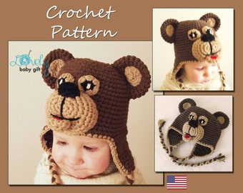 Crochet Pattern, Bear Earflap Hat, Crochet Hat Pattern, Includes Baby, Toddler, Child Sizes, CP-301