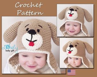 Crochet Hat Pattern, Baby Hat Pattern, Puppy Dog Hat Crochet Pattern, Crochet Animal Hat, CP-303