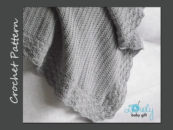 Crochet Baby Blanket Pattern, Baby Afghan Crochet Pattern, Grey Crib Blanket, CP-401