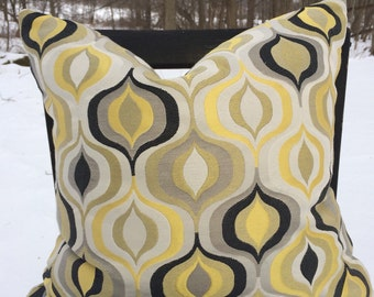 "18"" golden yellow, ivory, grey, black funky jacquard pillow cover"