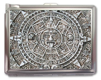 Mayan Calendar Retro Metal Cigarette Case with Lighter Holder